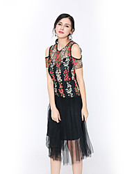 BONAS Summer  black collar pattern mesh yarn perspective strapless sexy atmosphere elegant dress in the long skirt