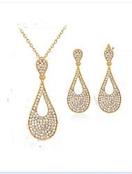 cheap -Women's Synthetic Diamond Gold Plated Drop Jewelry Set - Euramerican / Fashion Gold Bridal Jewelry Sets For Party / Event / Party /