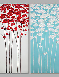 cheap -IARTS® Hand Painted Abstract Red & Blue Flower Floral Oil Painting Set of 2 with Stretched Frame Picture For Home Decoration Ready To Hang