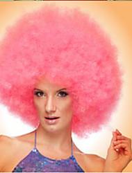 Donna Parrucche sintetiche Pantaloncini Riccio Afro Rosa Parrucca Cosplay Parrucca di Halloween Parrucca di carnevale Parrucca per