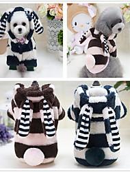 baratos -Cachorro Camisola com Capuz Macacão Pijamas Roupas para Cães Desenho Animado Verde Azul Rosa claro De Lã Poliéster Tecido Felpudo Algodão