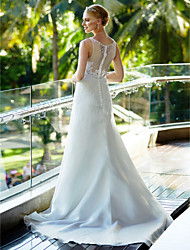 A-Line Scoop Neck Court Train Organza Wedding Dress with Beading Appliques Button by LAN TING BRIDE®