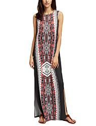 Tubino Vestito Da donna-Casual Moda città Con stampe Rotonda Maxi Senza maniche Chiffon Estate A vita medio-alta Anelastico Medio spessore