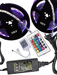 cheap -HKV® 10M(2*5M) 5050 300LED RGB Strip Light 24Key Remote Controller 5A Power Supply AC 100-240V