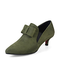 cheap -Women's Heels Comfort Leatherette Spring Summer Casual Dress Walking Comfort Buckle Kitten Heel Green Gray Black 1in-1 3/4in