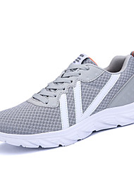 Women's Athletic Shoes Comfort Light Soles Spring Fall PU Running Shoes Athletic Lace-up Flat Heel Black Gray Blue Flat