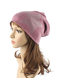 cheap -Women's Cotton Beanie Floppy Hat Headwear Cute Casual Chic & Modern Daily Knitwear Fall Winter Star Pattern Rhinestone Red/Beige/Navy Blue/Wine