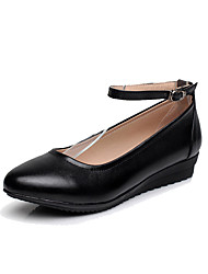 cheap -Women's Heels Formal Shoes Spring Fall Real Leather Office & Career Buckle Wedge Heel Black 1in-1 3/4in