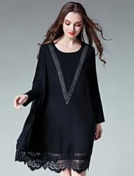 JIANRUYI Women's Party Going out Cute Loose Chiffon DressPrint Round Neck Midi Long Sleeve Polyester Fall High Rise Inelastic Thin