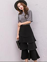 Women's High Waist Micro-elastic Culotte Pants,Simple Bootcut Solid