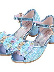 cheap -Girls' Flats Comfort Flower Girl Shoes Summer Fall Paillette Casual Dress Sequin Buckle Flat Heel Silver Blue Blushing Pink Flat