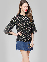 Women's Vacation Date Going out Casual/Daily Vintage Cute Street chic Summer Blouse,Floral Crew Neck Half Sleeve Chiffon Thin