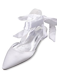 cheap -Women's Wedding Shoes Comfort Mary Jane D'Orsay & Two-Piece Spring Summer Satin Wedding Dress Party & Evening Bowknot Lace-up Flat Heel