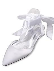 abordables -Femme Chaussures Satin Printemps / Eté Confort / Mary Jane / D'Orsay & Deux Pièces Chaussures de mariage Talon Plat Bout pointu Noeud /