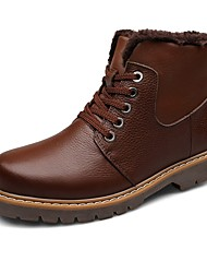 cheap -Men's Boots Snow Boots Fashion Boots Bootie Light Soles Winter Real Leather Nappa Leather Cowhide Casual Outdoor Office & Career Flat Heel