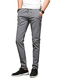 economico -Da uomo A vita medio-alta Vintage Casual Attivo strenchy magro Taglia piccola Chino Pantaloni,Tinta unita Poliestere Misto cotone