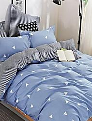 cheap -Solid 4 Piece Cotton Cotton 1pc Duvet Cover 2pcs Shams 1pc Flat Sheet