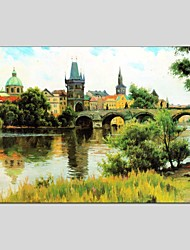 cheap -Oil Paintings Landscape Style Canvas Material With Wooden Stretcher Ready To Hang Size 60*90 CM .