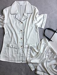 cheap -Women's Satin & Silk Suits Nightwear,Collar Solid-Medium Polyester Satin White Blushing Pink Navy Blue