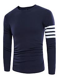 Standard Pullover Da uomo-Casual Stoffe orientali A strisce Rotonda Manica lunga Misto cotone Autunno Medio spessore Media elasticità