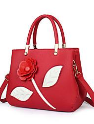 Mulher Bolsas Couro Ecológico Tote Flor para Casual Todas as Estações Roxo Vermelho Azul Rosa escuro Khaki