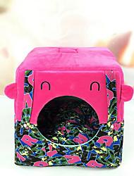 preiswerte -Hund Betten Haustiere Matten & Polster Streifen Cartoon Design warm halten Weich Elasthan Grau Purpur Rot Grün