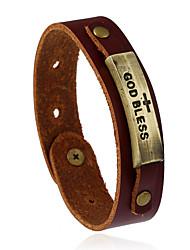 cheap -Retro New Fashion Adjustable Alloy Leather Bracelet