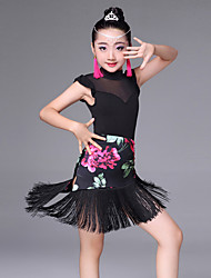 cheap -Latin Dance Outfits Performance Spandex Tulle Milk Fiber Pattern / Print Splicing Tassel Sleeveless High Skirts Leotard / Onesie Earrings