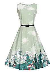 Women's Daily Holiday Work Vintage Cute A Line Dress,Print Round Neck Knee-length Sleeveless Cotton Polyester Summer High Rise Inelastic