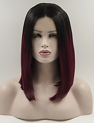 cheap -Synthetic Lace Front Wig 1b/Red BOB Natural Wigs Wigs for Women Costume Wig Cosplay Wigs