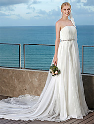 cheap -A-Line Strapless Cathedral Train Chiffon Lace Wedding Dress with Beading Sash / Ribbon Draped by LAN TING BRIDE®