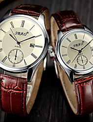 Herren Damen Kleideruhr Modeuhr Armbanduhr Quartz Leder Band Braun Marke