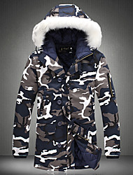 Men's Regular Padded Coat,Street chic Casual/Daily Camouflage-Cotton Polypropylene Long Sleeve