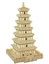 economico -Puzzle 3D Puzzle Modello in legno Giocattoli Quadrato Torre Edificio famoso Casa Architettura Simulazione Legno Lengo naturale Non