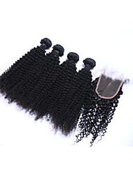 cheap -100% Unprocessed Medium Size 4pcs 400g Kinky Curly #1B Brazilian Remy Human Hair Wefts with 1Pcs 4x4 Lace Top Closures Human Hair Extensions/Weaves
