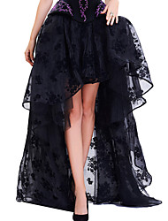 Shaperdiva Black Vintage Floral Print High Low Steampunk Maxi Skirts