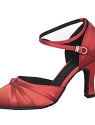 """billige -Dame Moderne Silke Sandaler Ydeevne Krydsdrapering Stilethæle Brun Rød 2 """"- 2 3/4"""" 3 """"- 3 3/4"""" Kan tilpasses"""