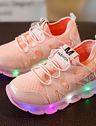 Girls' Sneakers Light Up Shoes Spring Summer Fall Leather Tulle Walking Shoes Casual Outdoor LED Low Heel White Black Blushing Pink Under
