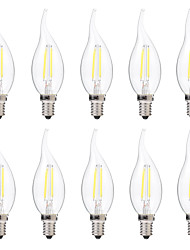 abordables -BRELONG® 10pcs 2W 200lm E14 Ampoules à Filament LED C35 2 Perles LED COB Intensité Réglable Blanc Chaud Blanc 220-240V