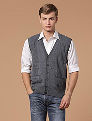 cheap -Men's Daily Short Vest,Solid V Neck Sleeveless Others Winter Spring Medium Micro-elastic