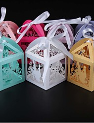 cheap -Round Square Cuboid Pearl Paper Favor Holder with Ribbons Printing Favor Boxes - 50