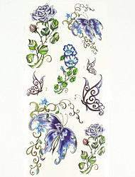 Недорогие -1 pcs Временные тату Временные татуировки Тату с цветами Водонепроницаемый Искусство тела руки / рука / запястье