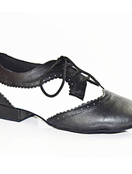"cheap -Men's Latin Patent Leather Flat Performance Splicing Black-white Under 1"" Customizable"