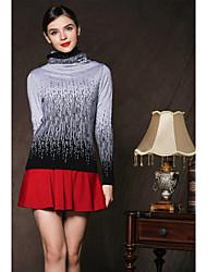 Standard Pullover Da donna-Casual Semplice Monocolore Girocollo Manica lunga Cashmere Autunno Medio spessore Media elasticità