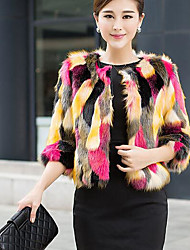 Women's Casual/Daily Simple Fall Winter Fur Coat,Print Round Neck Long Sleeve Short Others