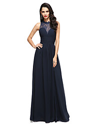 cheap -A-Line Illusion Neckline Floor Length Chiffon Lace Formal Evening Dress with Appliques Side Draping by TS Couture®