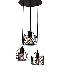 cheap -3 Head Vintage Black Metal Cage Shade Pendant Lights Living Room Dining Room Light Fixture