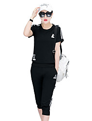 Women's Sports Casual Summer T-shirt Pant Suits,Solid Round Neck ½ Length Sleeve Modern Style strenchy