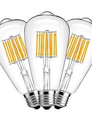 economico -10W E27 Lampadine LED a incandescenza ST64 10 leds COB Decorativo Bianco caldo 1000lm 2700K AC 220-240V