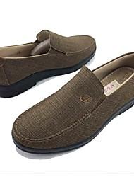 Homens sapatos Tecido Primavera Outono Conforto Mocassins e Slip-Ons Caminhada para Casual Ao ar livre Preto Café